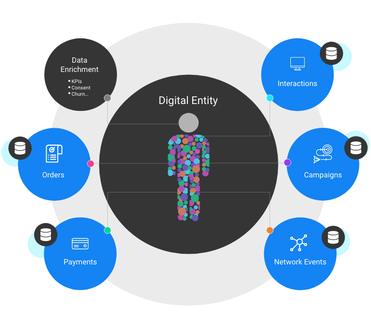 Data fabric based on digital entities and micro-databases