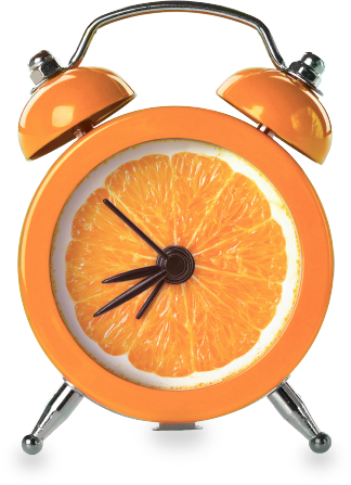 A 1960s to 70s style alarm clock colored orange with a clock face that looks like the inside of an orange, the clock has four dials